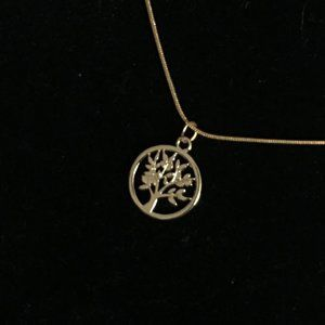 """Gold plated Tree of Life pendant 18"""""""